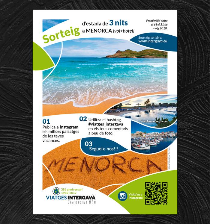 Flyer publicitando sorteo de Viajes Intergavà