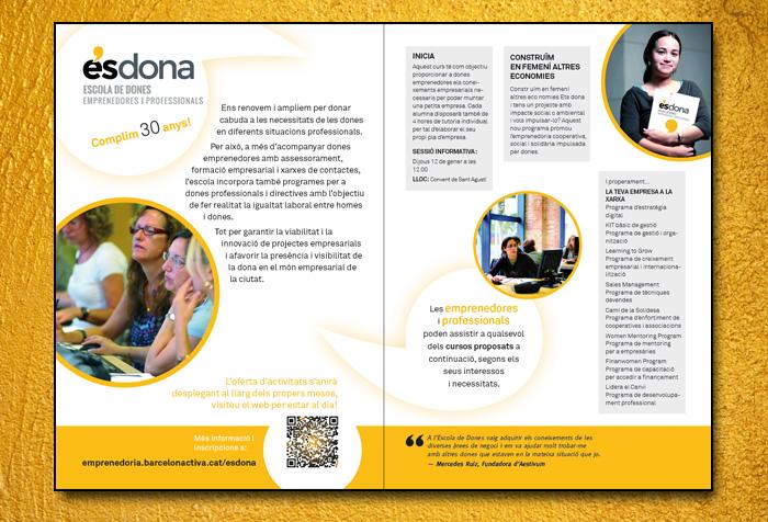 Diseño de doble página A5 para Barcelona Activa.