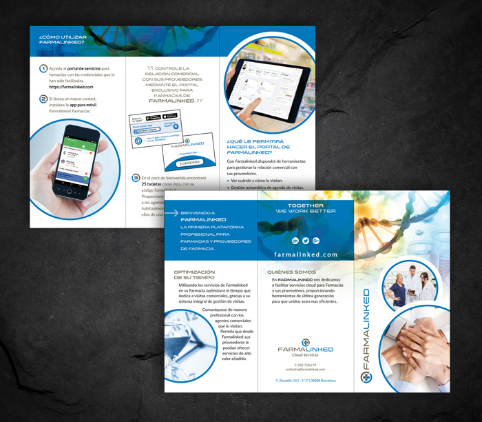 Diseño de trípticos para empresa APP farmacias