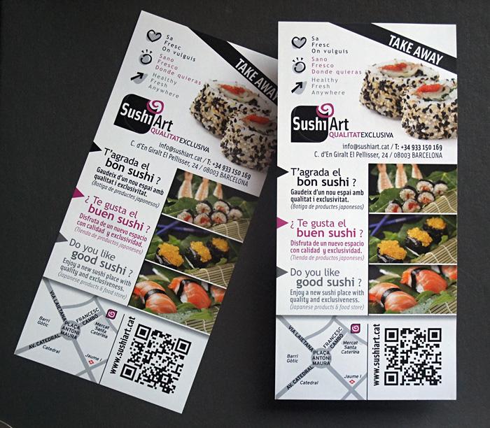 Flyers publicitarios de servicio sushi para llevar
