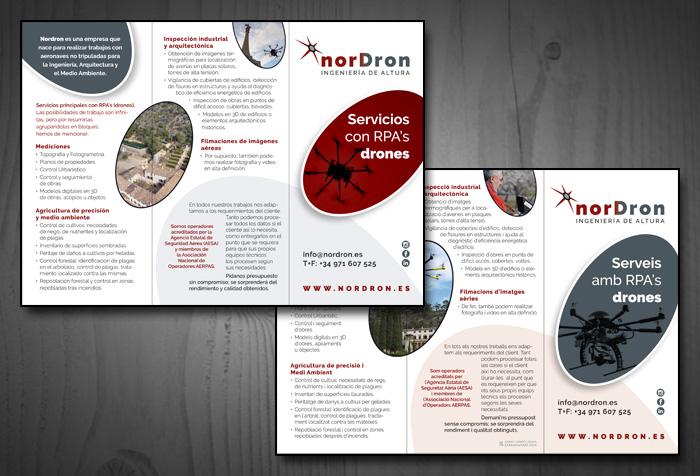 Diseño de folleto tríptico para servicios de dron e ingeniería