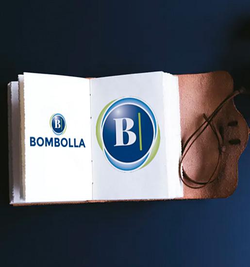 Logotipo circular con estética burbuja
