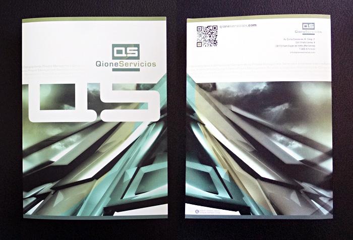 QIONE Servicios > Carpetas para hojas A4, diseñadas para empresa inmobiliaria.