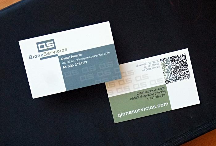 Tarjetas diseñadas para Qione Servicios Inmobiliarios