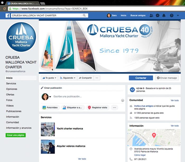 Diseño FB portada empresas para veleros Mallorca