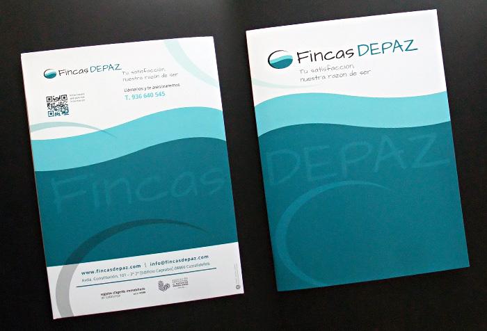 Fincas DEPAZ > Diseño de carpeta para agencia inmobiliaria en Castelldefels, Barcelona.