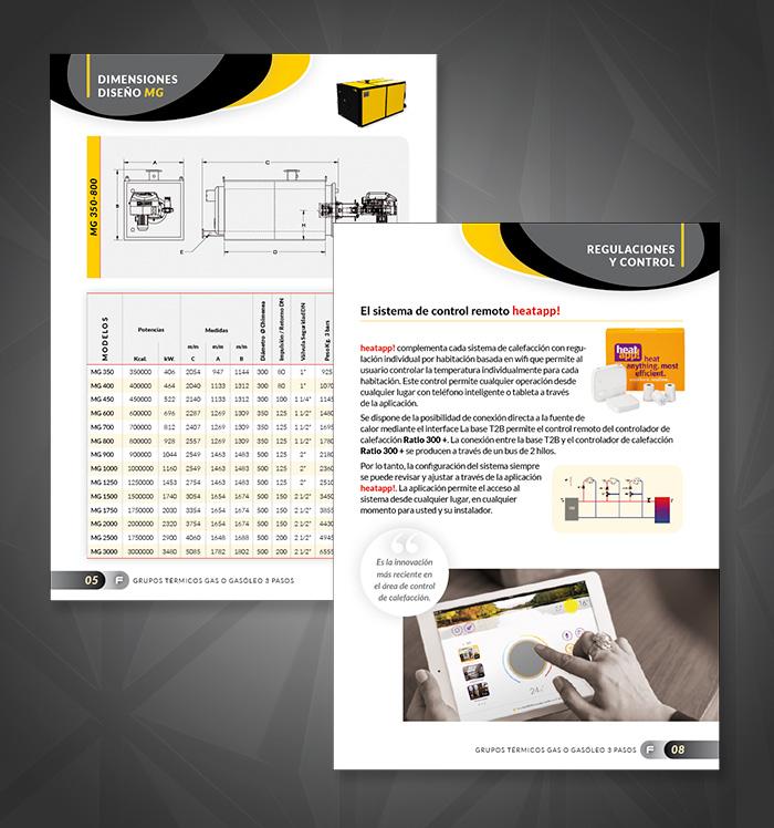 Diseño catálogo páginas con tablas