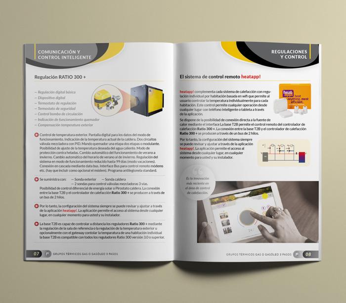 Páginas interiores de catálogo industrial de productos .