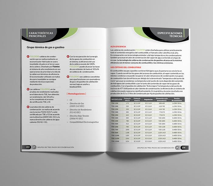 Diseño de doble página de catálogo industrial
