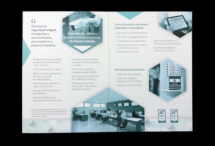 Diseño de dípticos empresa seguridad, alarmas y CCTV (interiores)
