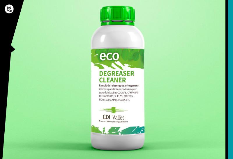 Diseñar etiqueta para botella de un litro de líquidos químicos eco