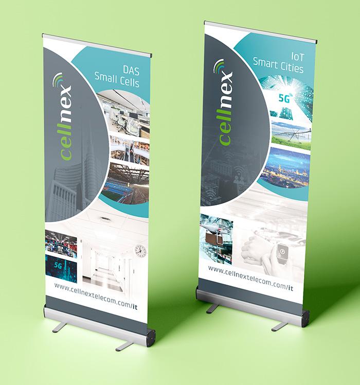 Diseños de rollup con línea estética Cellnex Telecom
