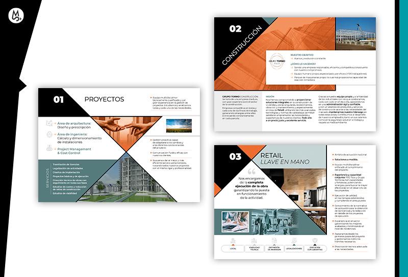 Diseños de interiores para dossier corporativo de empresa constructora y de ingeniería.